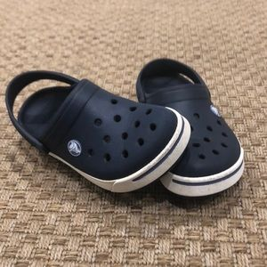 Navy and White Crocs